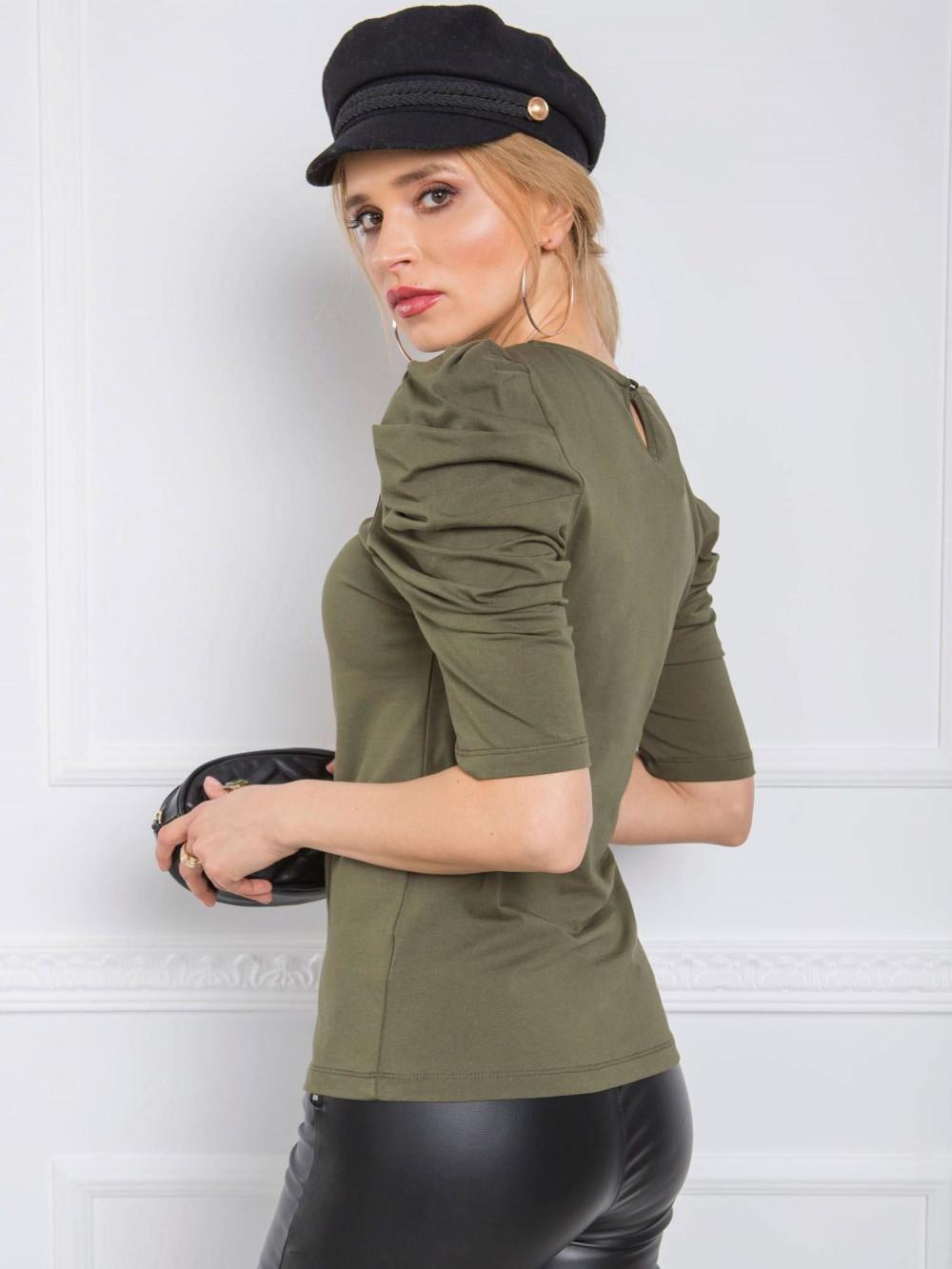 Khaki bluzka z bufiastymi rękawami Veros 2