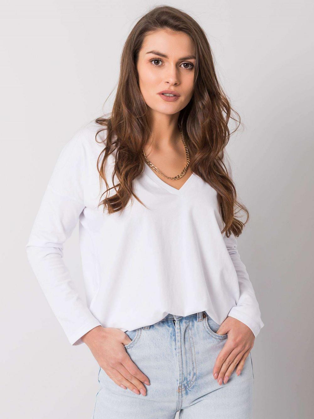 Biała luźna bluzka V-Neck Brooke 1