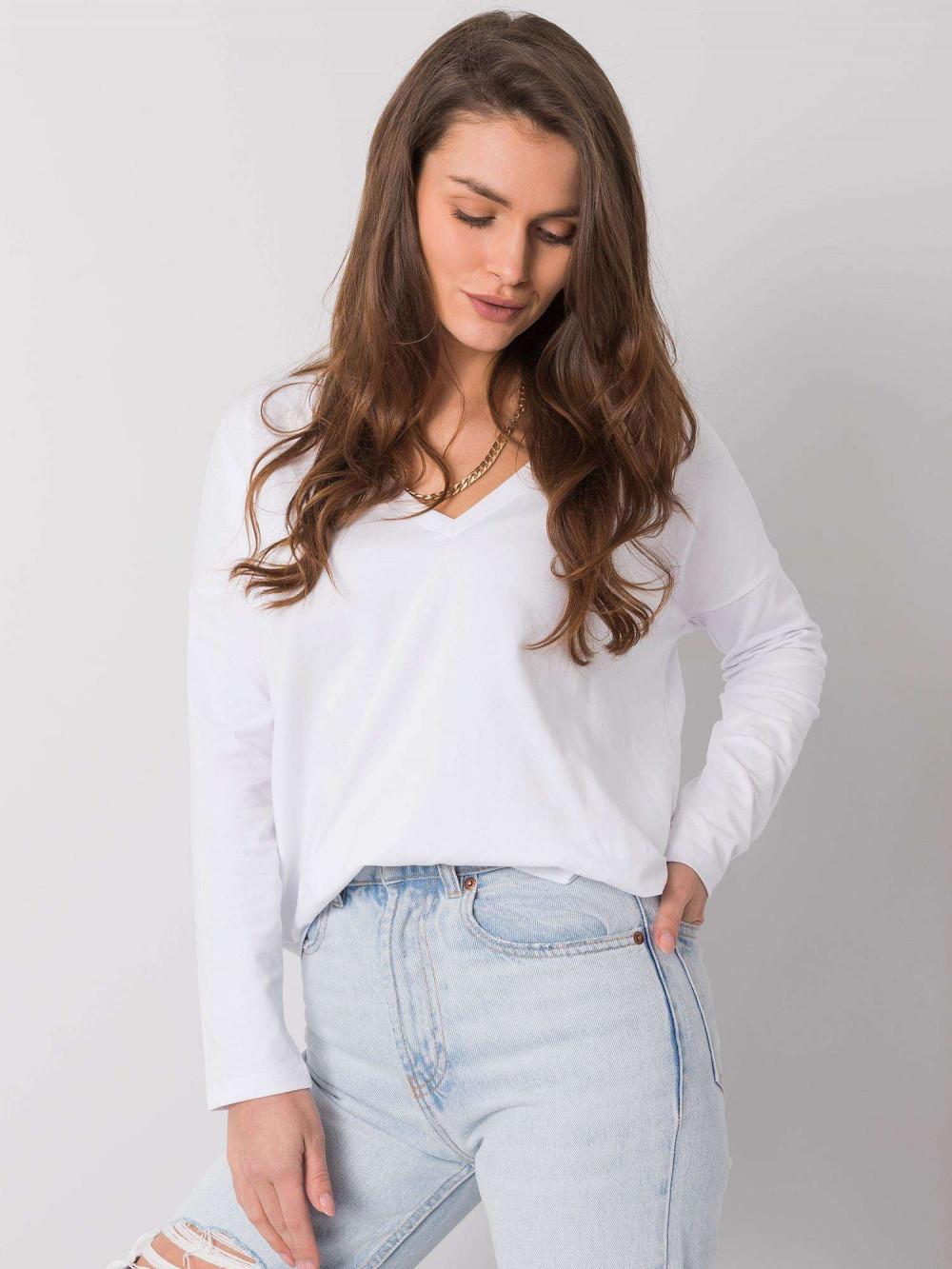 Biała luźna bluzka V-Neck Brooke 3