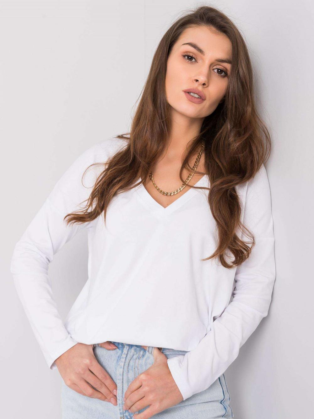 Biała luźna bluzka V-Neck Brooke 2