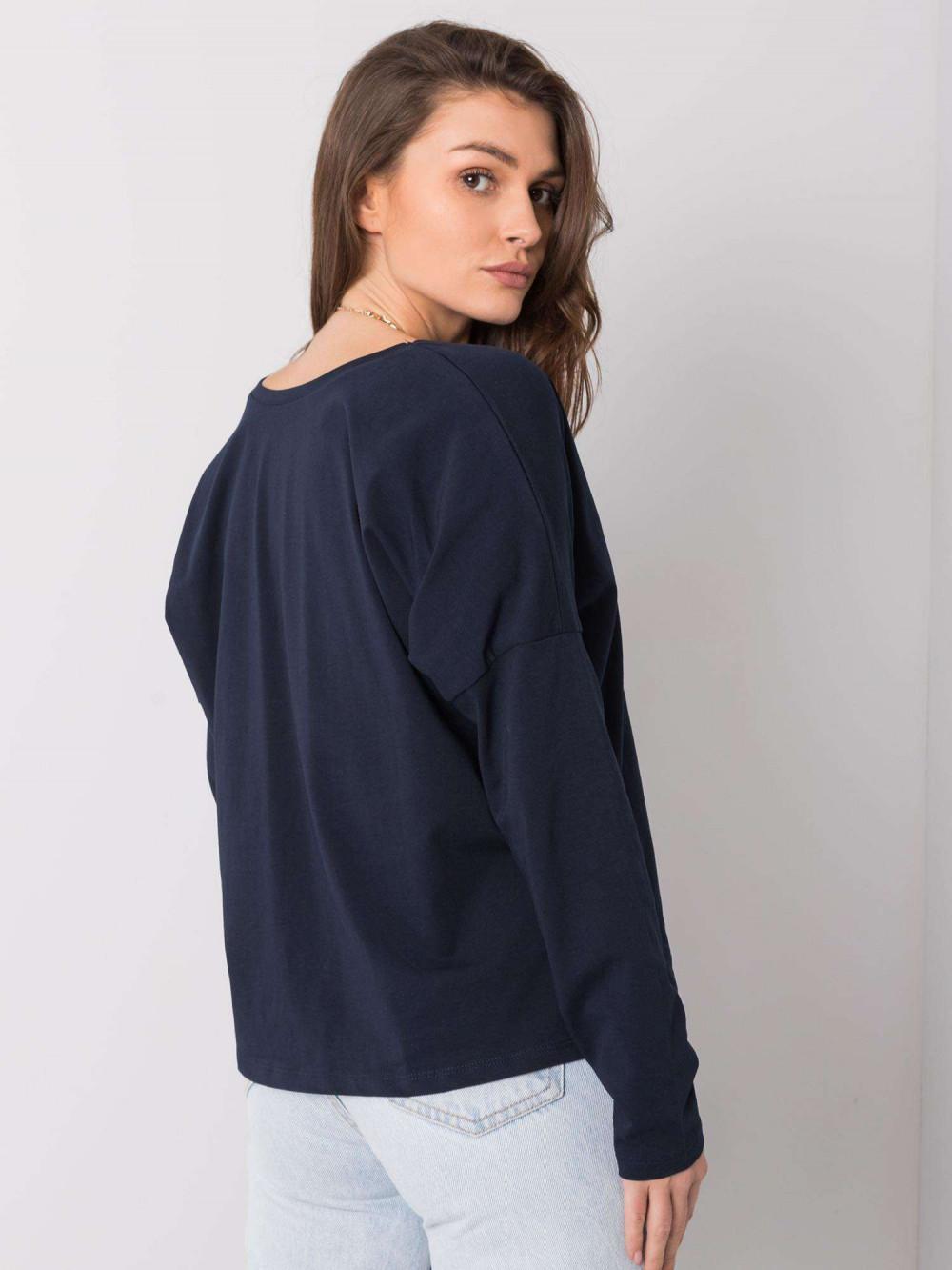 Granatowa luźna bluzka V-Neck Sedus 5