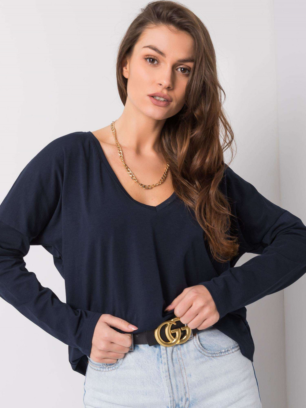 Granatowa luźna bluzka V-Neck Sedus 2