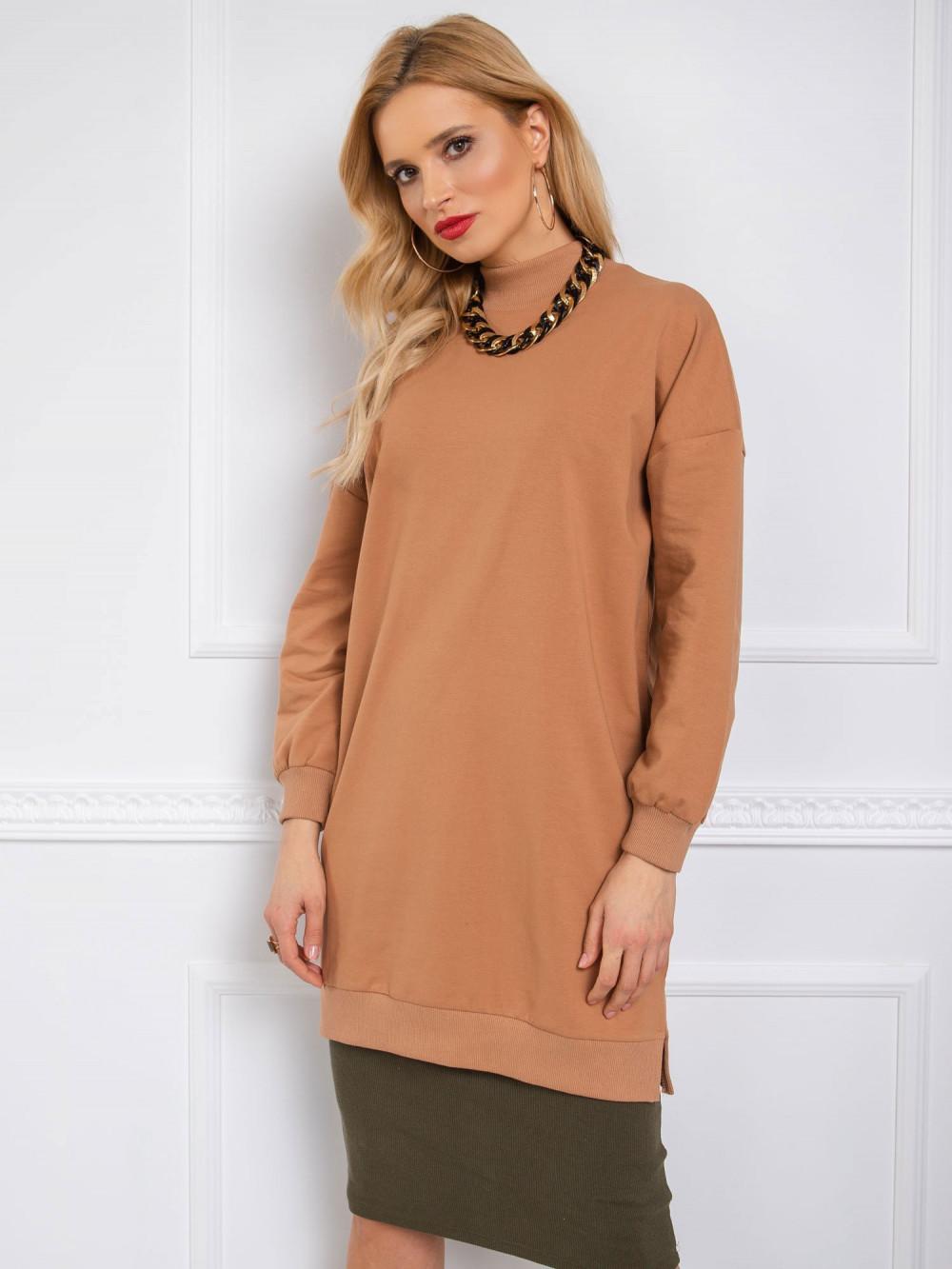Brązowa sukienka bluza oversize Cullen 1
