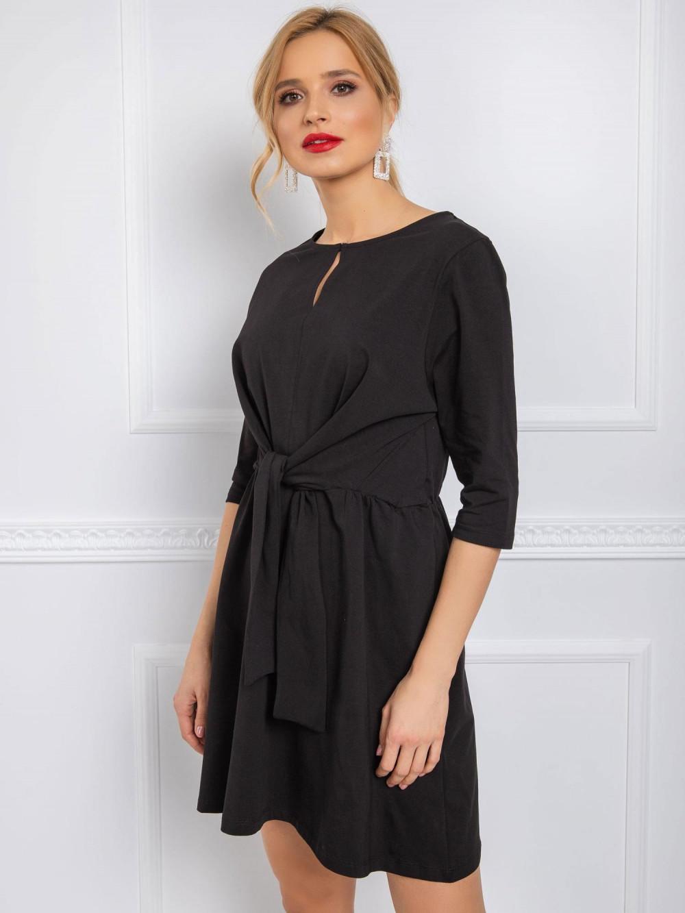 Czarna sukienka koszulowa z wiązaniem Houston 2