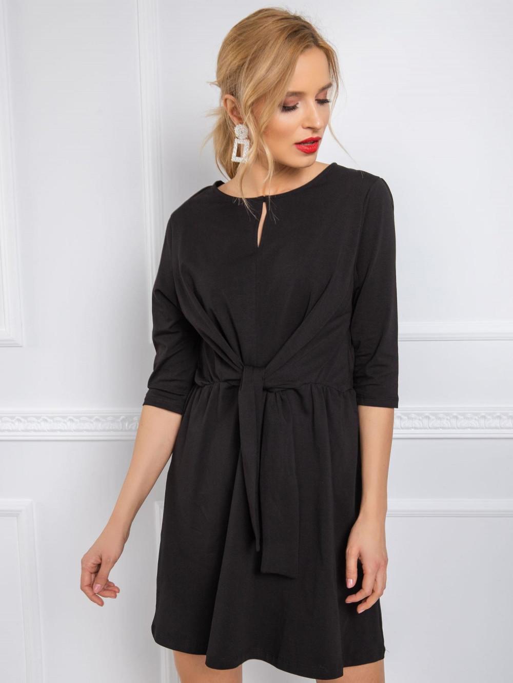 Czarna sukienka koszulowa z wiązaniem Houston 3