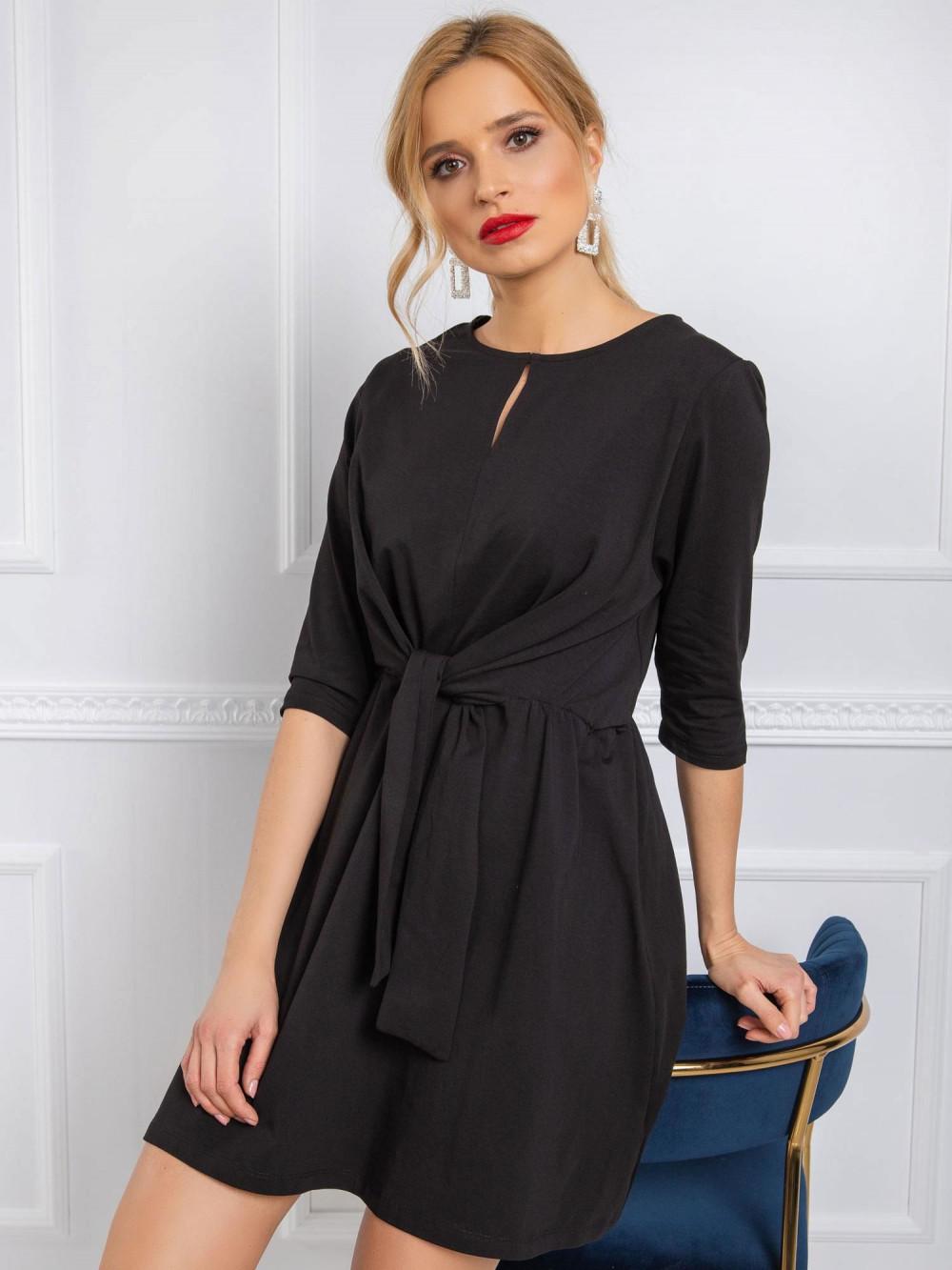 Czarna sukienka koszulowa z wiązaniem Houston 1