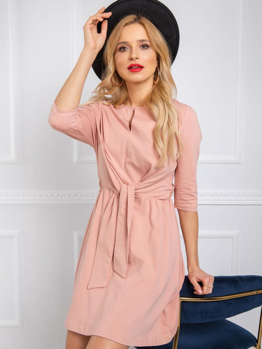 Różowa sukienka koszulowa z wiązaniem Houston 1