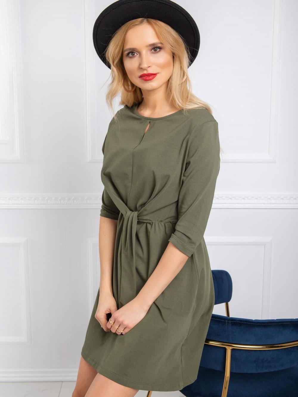 Khaki sukienka koszulowa z wiązaniem Houston 2