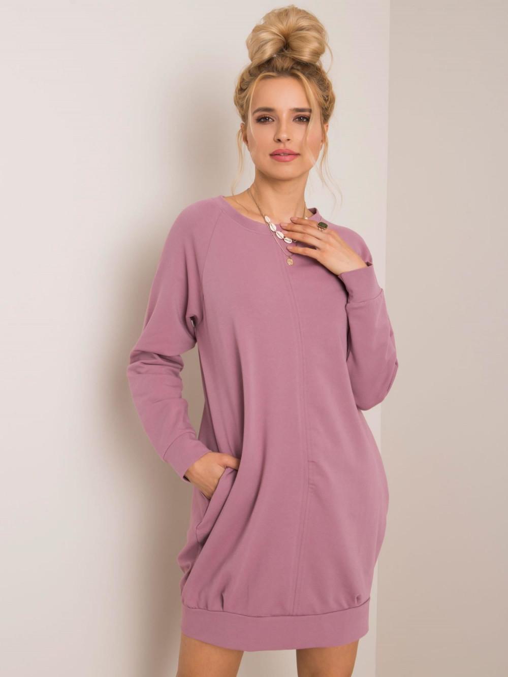 Brudnoróżowa sukienka bluza z kieszeniami Glove 1