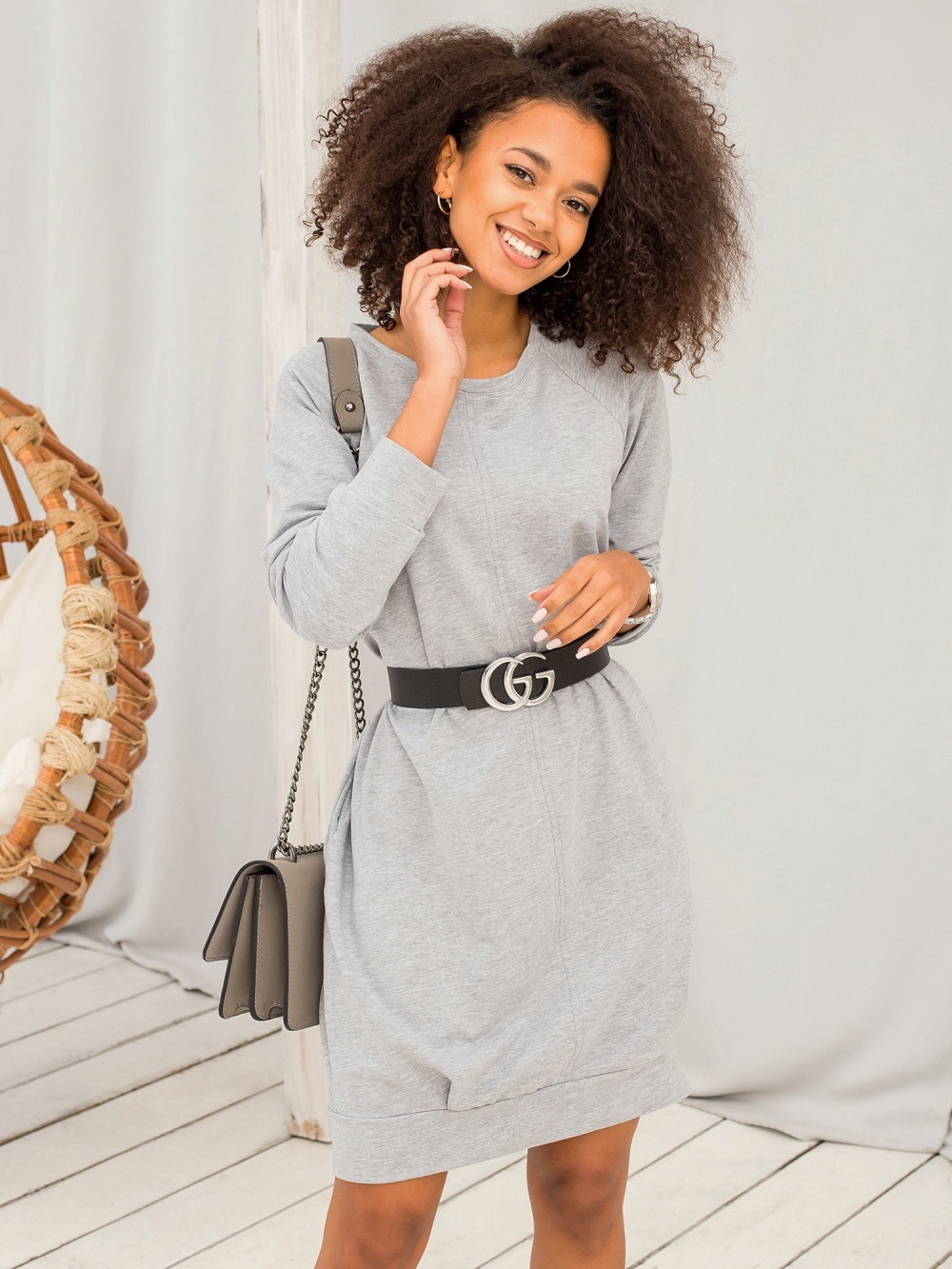 Szara sukienka bluza z kieszeniami Glove 1