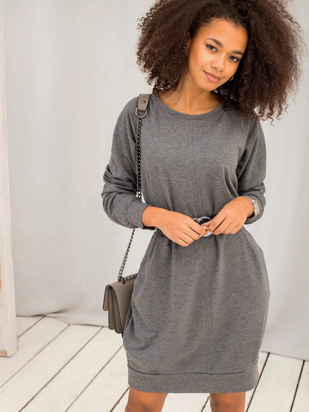 Ciemnoszara melanżowa sukienka bluza z kieszeniami Glove 2