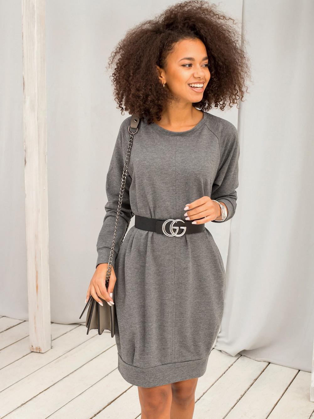 Ciemnoszara melanżowa sukienka bluza z kieszeniami Glove 4