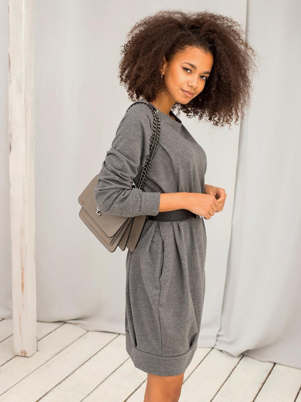 Ciemnoszara melanżowa sukienka bluza z kieszeniami Glove 5