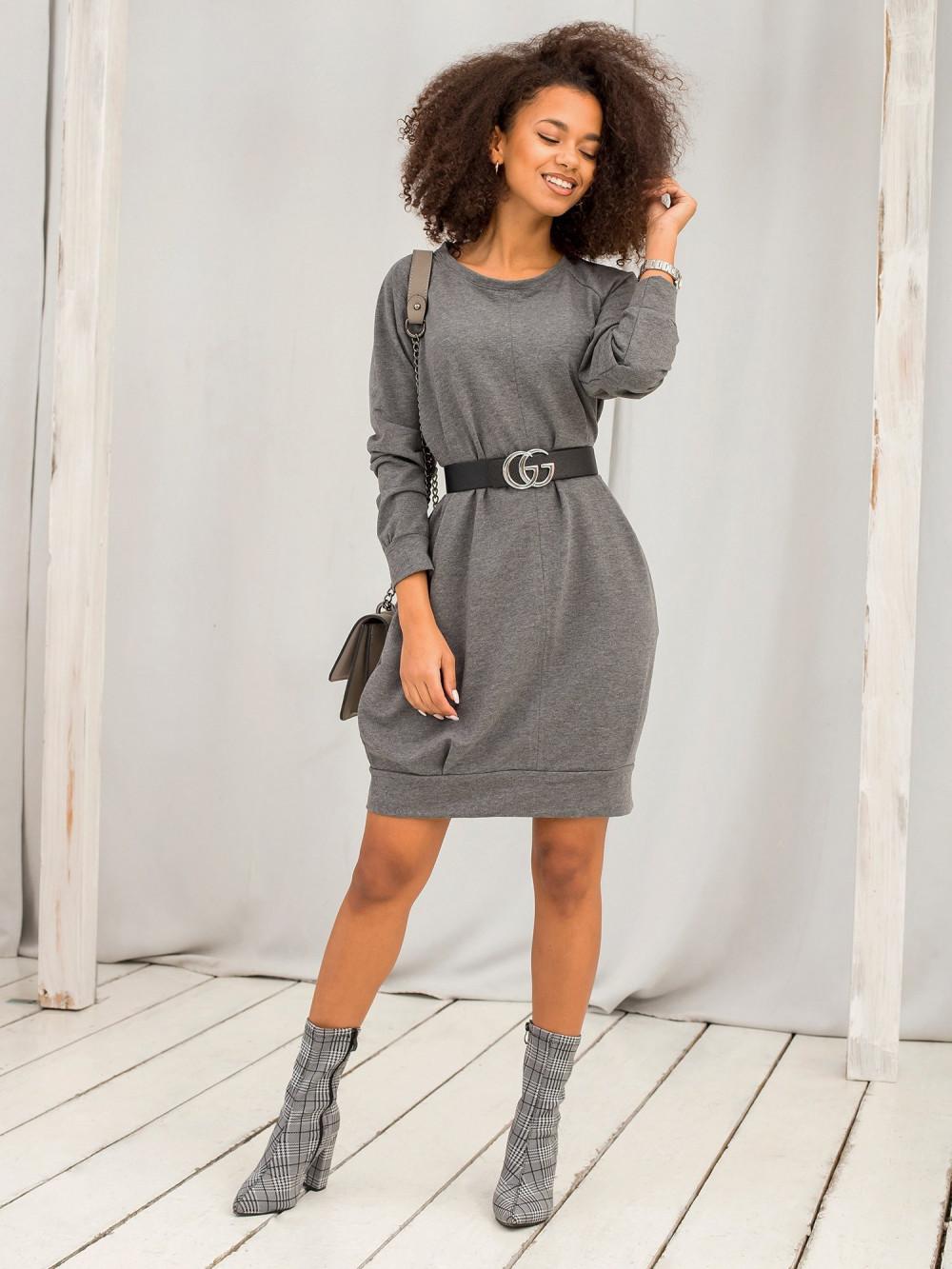 Ciemnoszara melanżowa sukienka bluza z kieszeniami Glove 6
