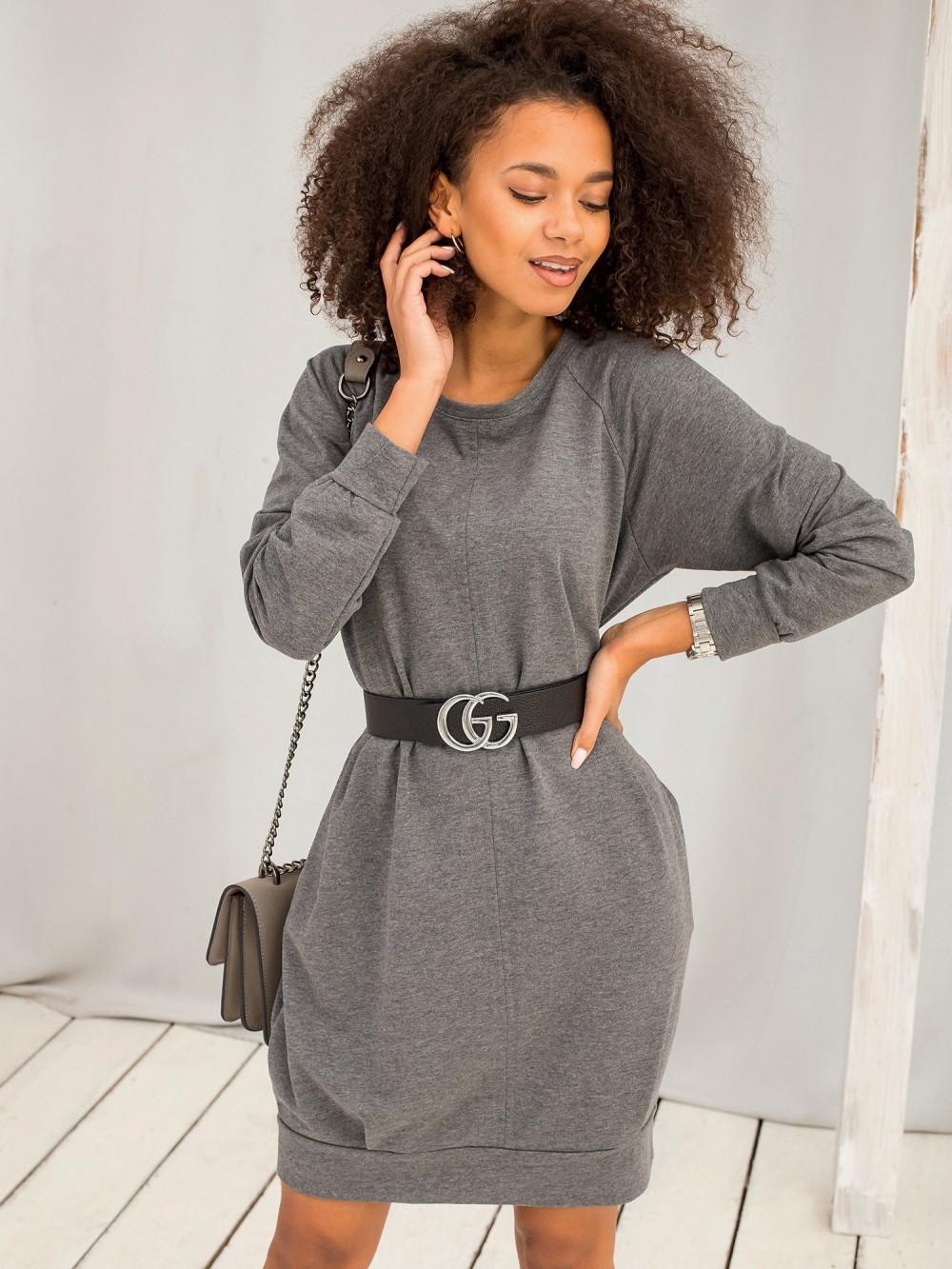 Ciemnoszara melanżowa sukienka bluza z kieszeniami Glove 3