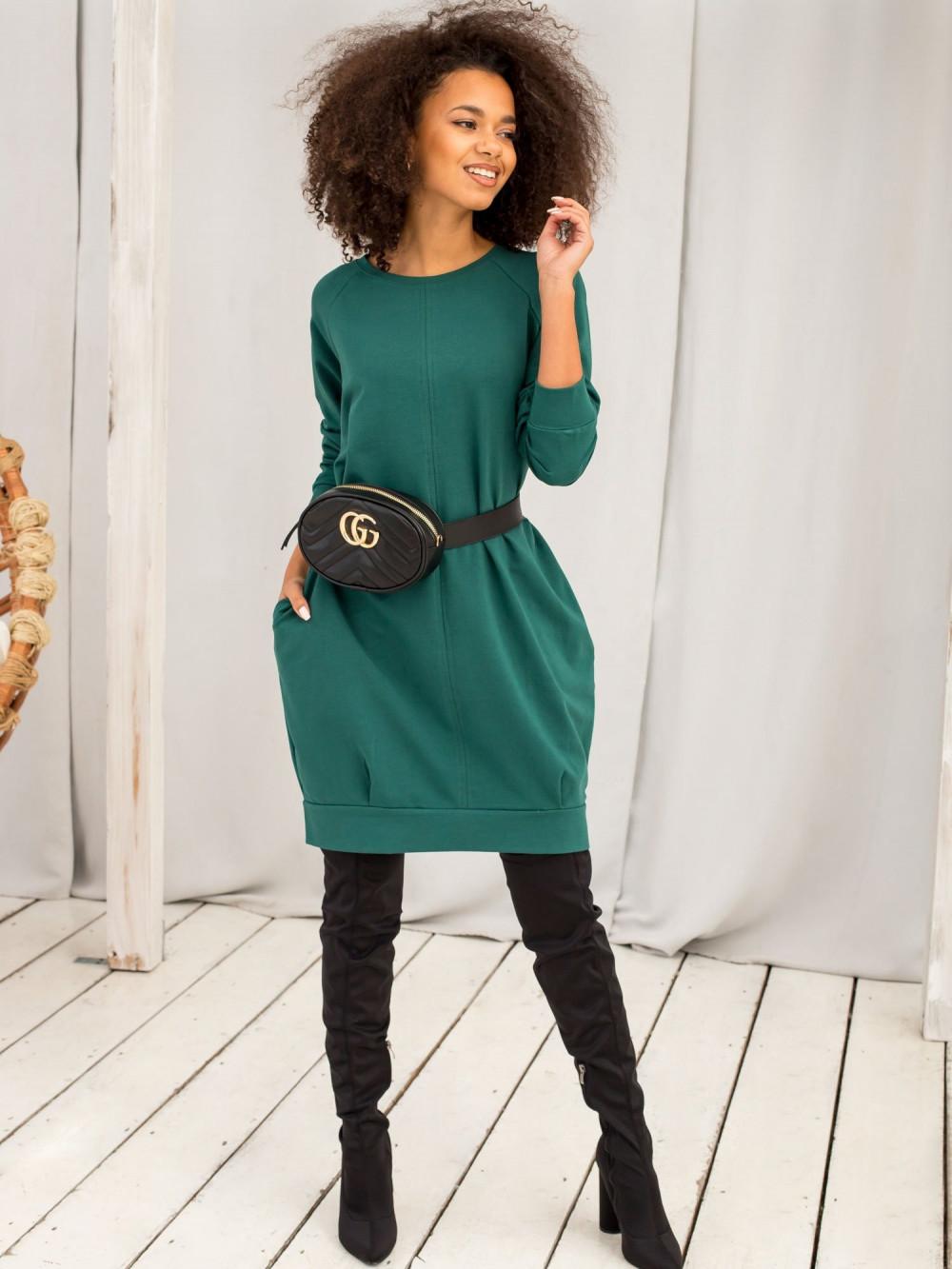 Ciemnozielona sukienka bluza z kieszeniami Glove 3