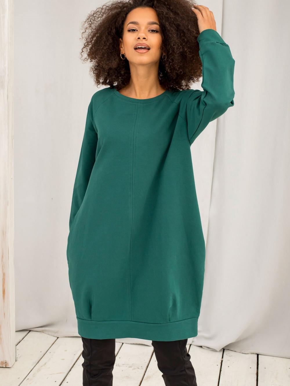 Ciemnozielona sukienka bluza z kieszeniami Glove 2