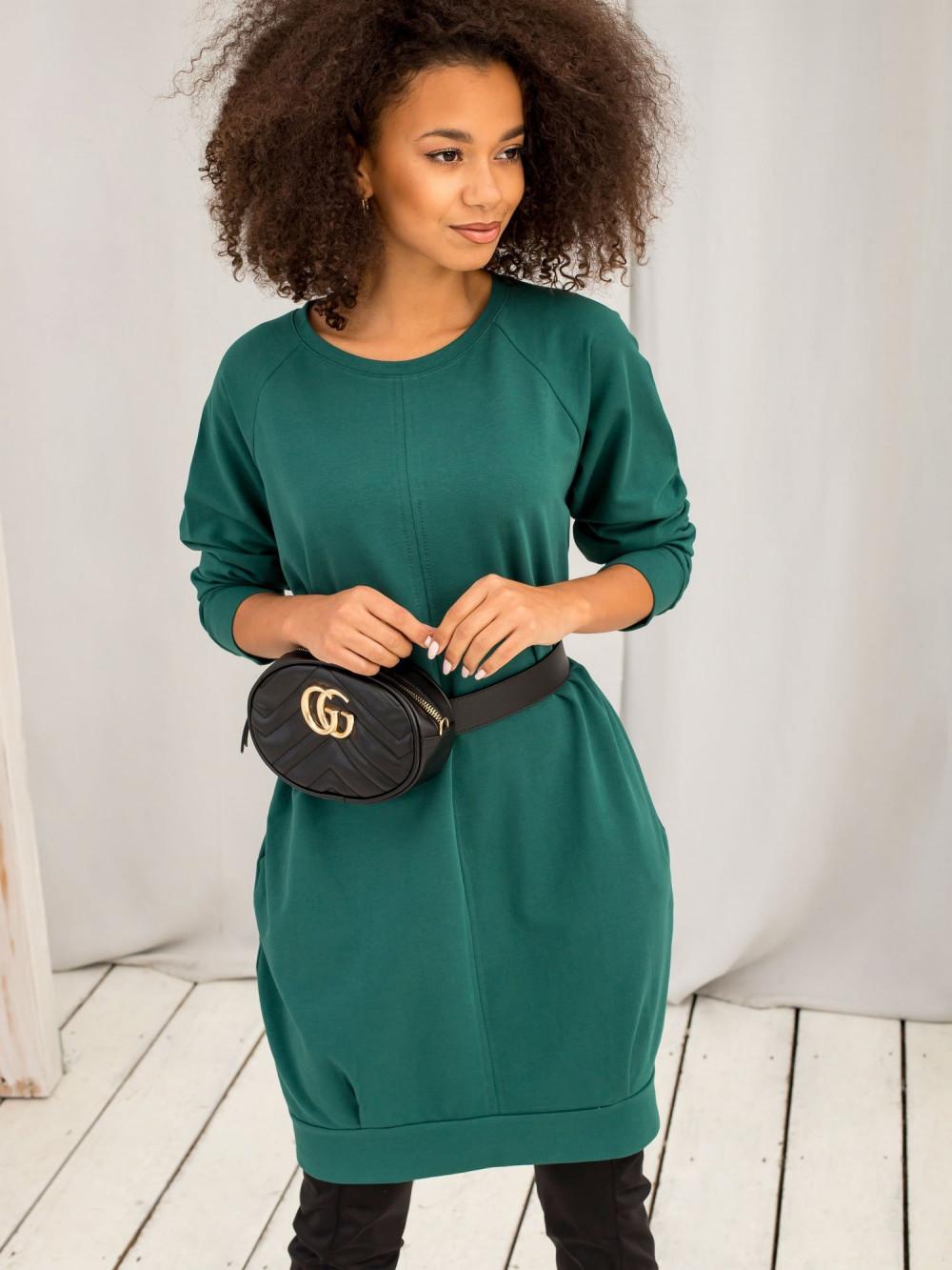 Ciemnozielona sukienka bluza z kieszeniami Glove 1