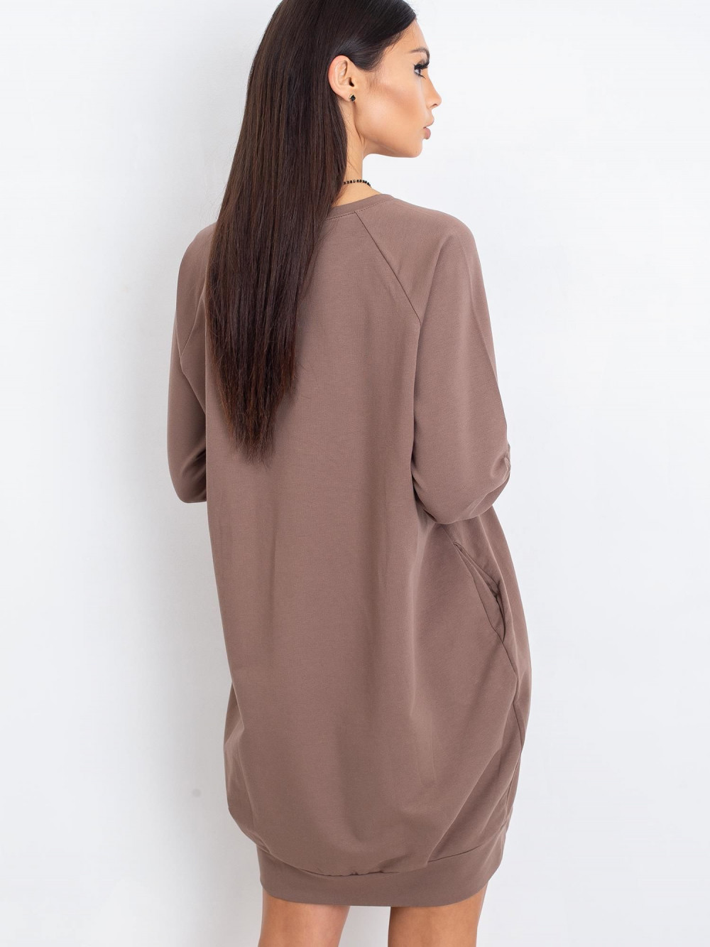Kawowa sukienka bluza z kieszeniami Glove 5