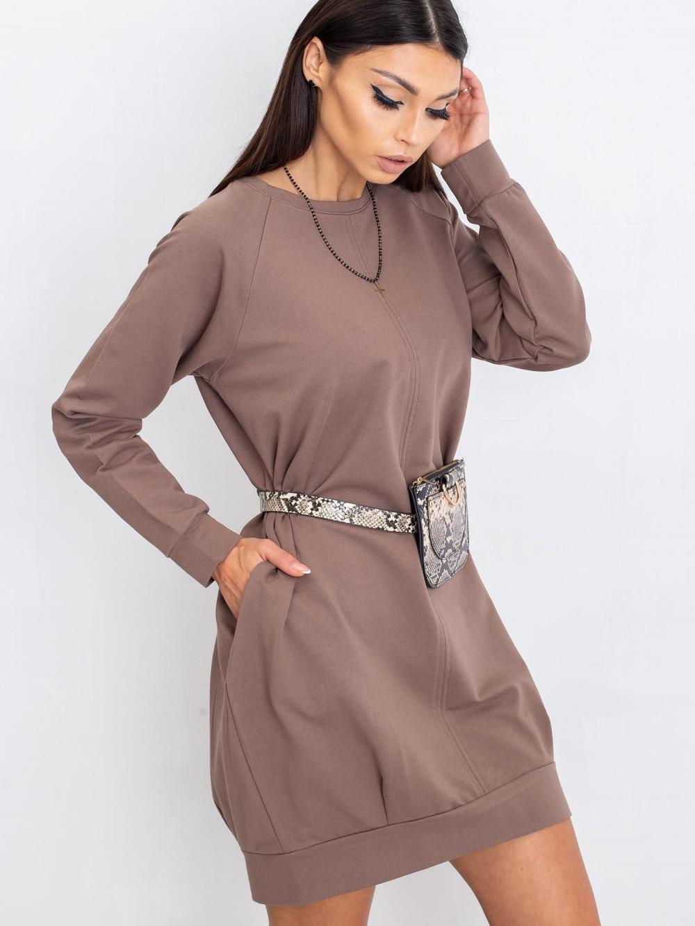 Kawowa sukienka bluza z kieszeniami Glove 3
