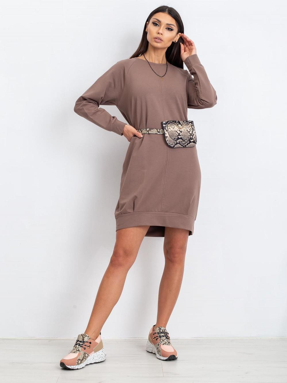 Kawowa sukienka bluza z kieszeniami Glove 4