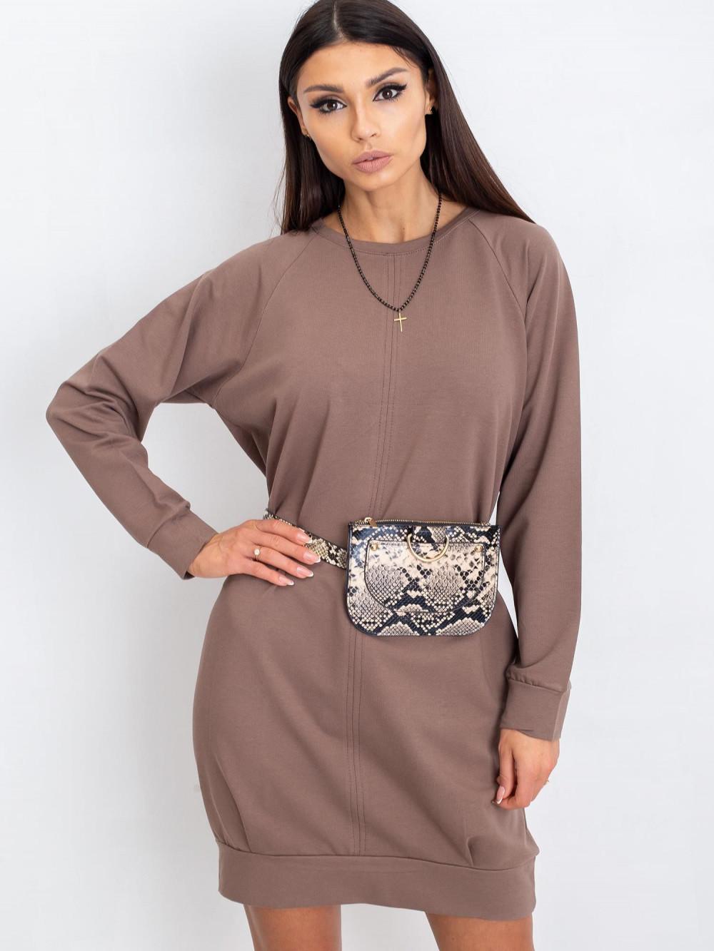 Kawowa sukienka bluza z kieszeniami Glove 1