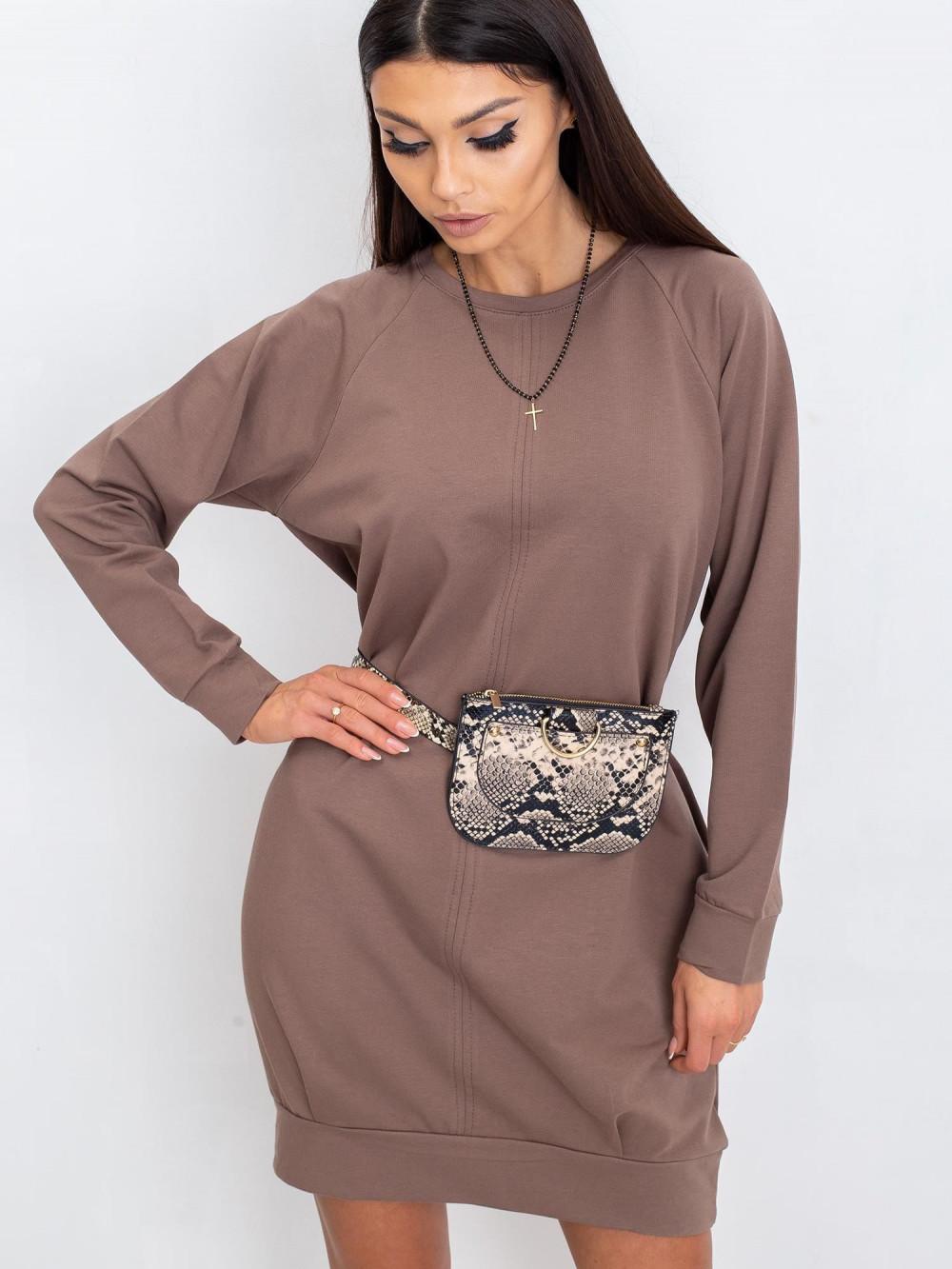 Kawowa sukienka bluza z kieszeniami Glove 2
