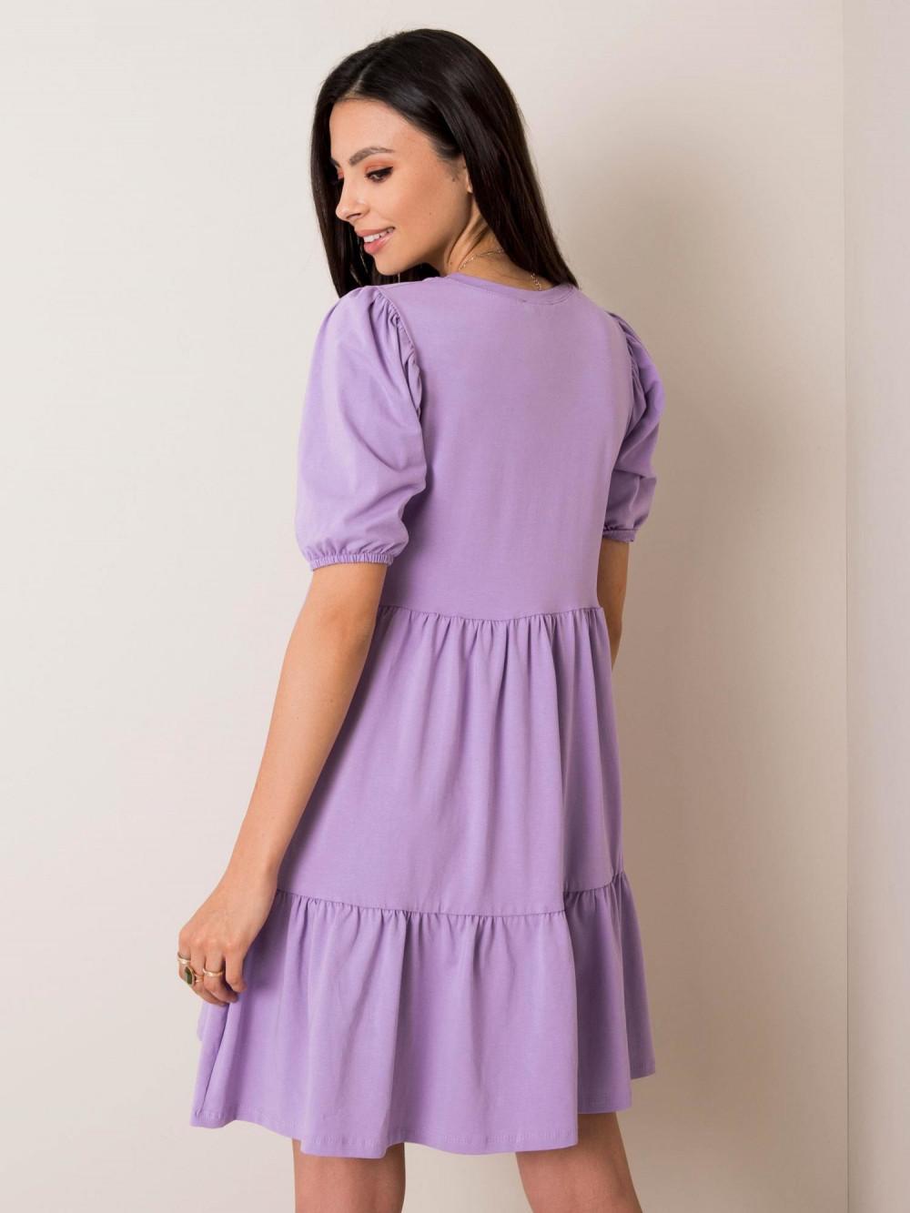 Fioletowa sukienka rozkloszowana z falbankami Angeles 2