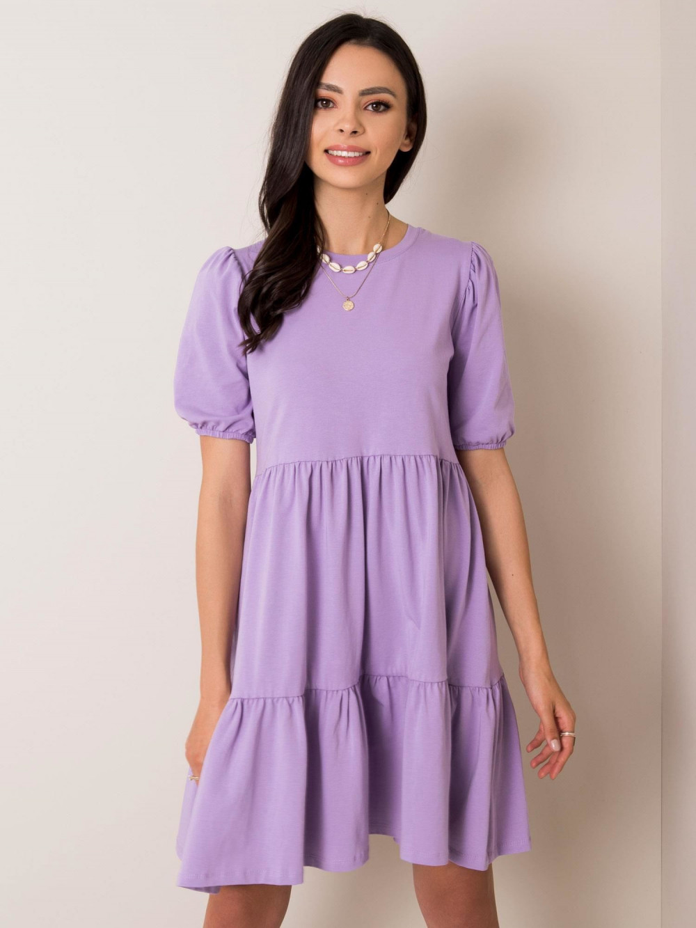 Fioletowa sukienka rozkloszowana z falbankami Angeles 1