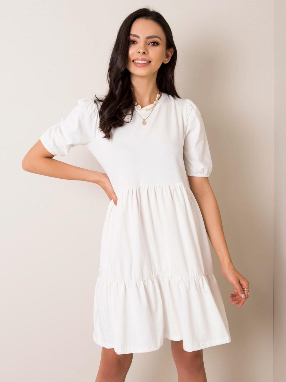 Biała sukienka rozkloszowana z falbankami Angeles 1