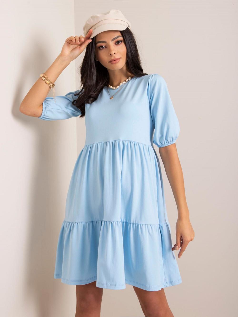 Jasnoniebieska sukienka rozkloszowana z falbankami Angeles 1