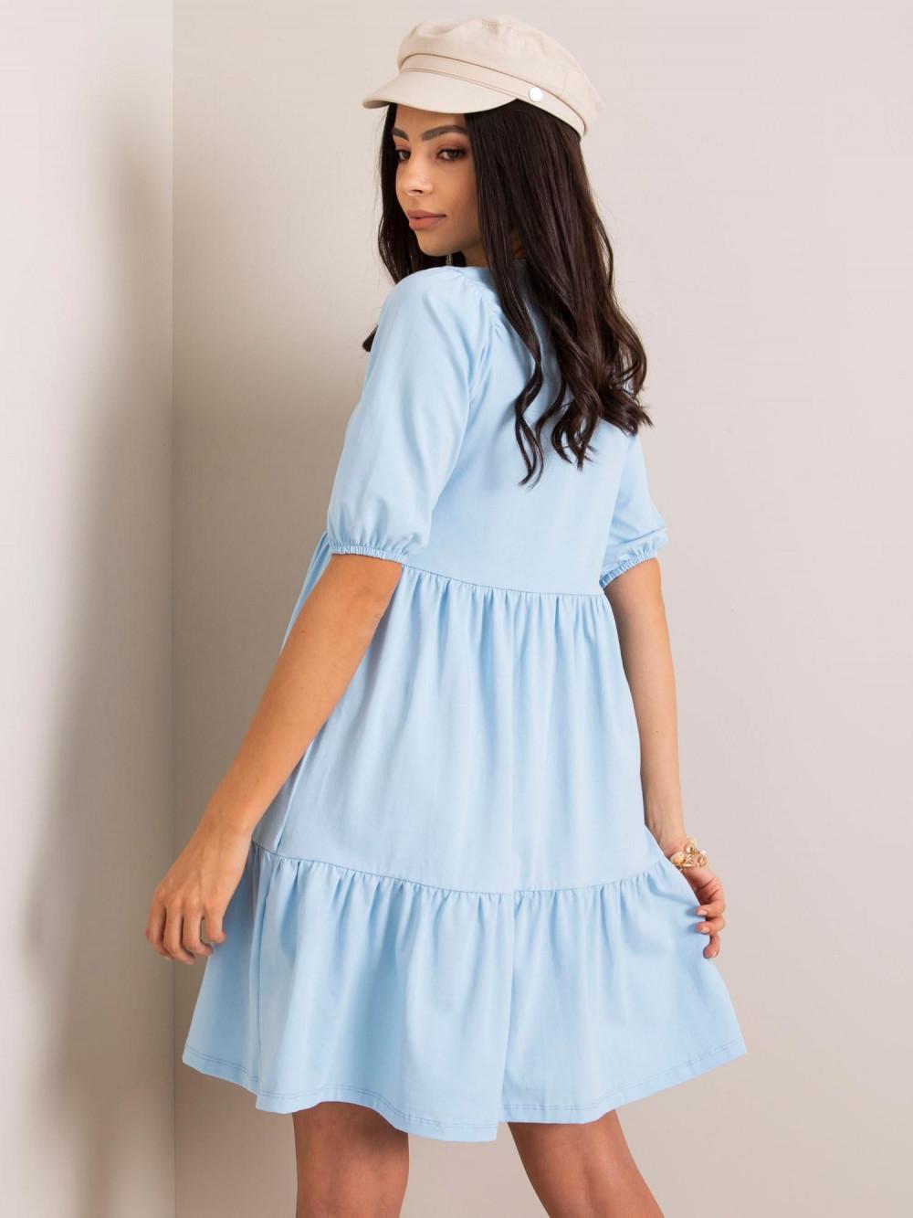 Jasnoniebieska sukienka rozkloszowana z falbankami Angeles 2