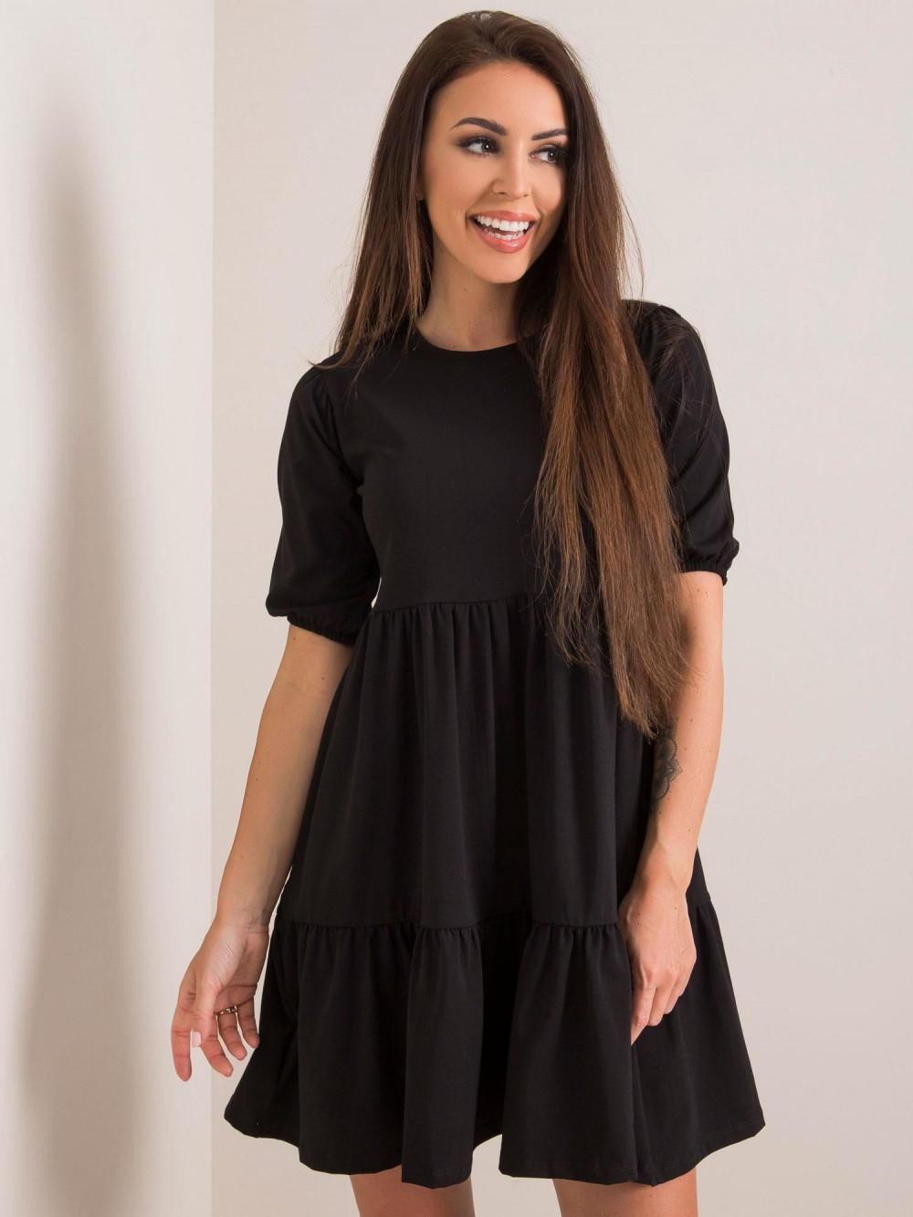 Czarna sukienka rozkloszowana z falbankami Angeles 1
