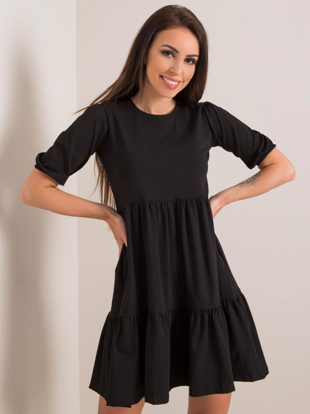 Czarna sukienka rozkloszowana z falbankami Angeles 2