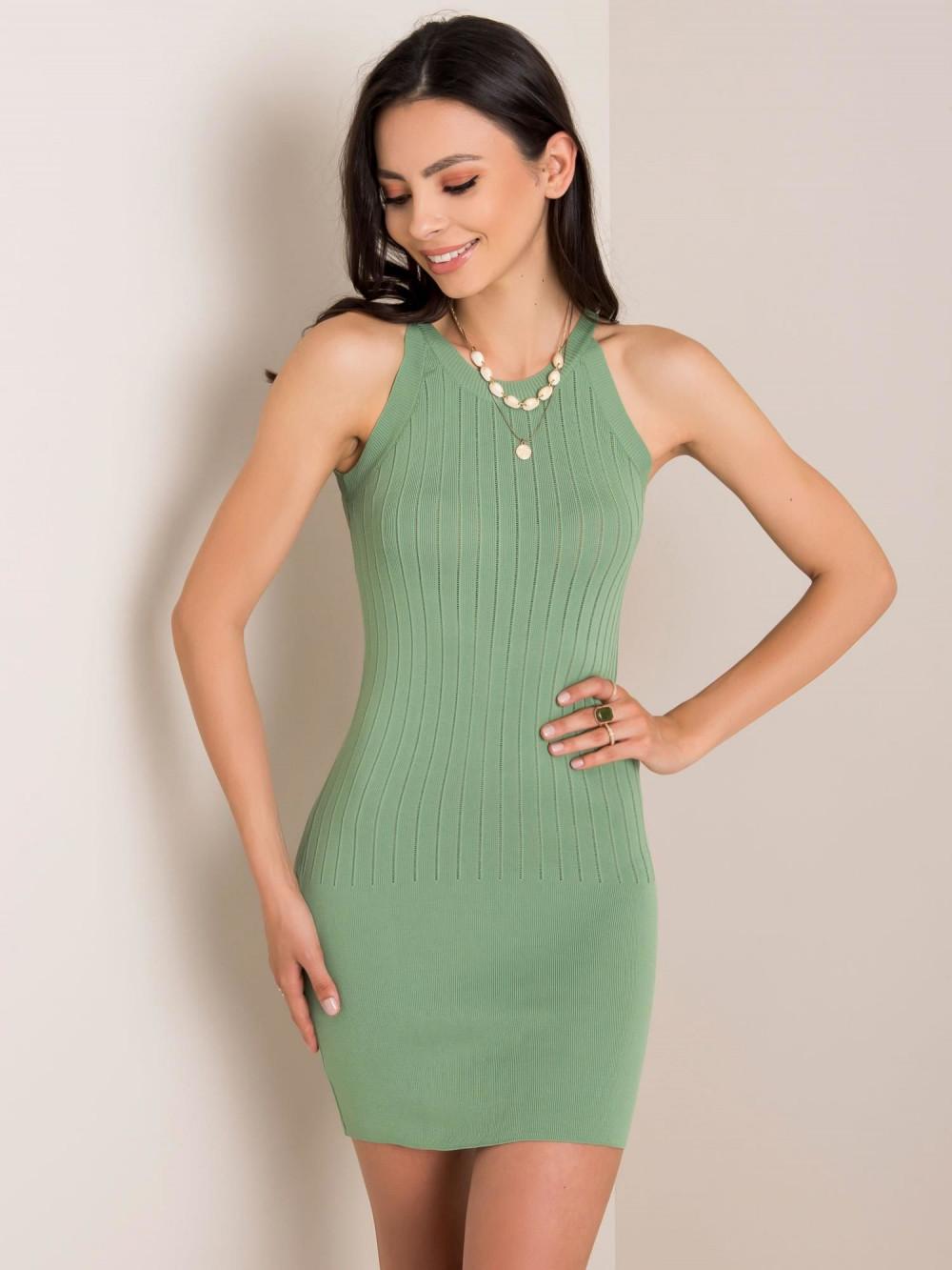 Khaki sukienka dopasowana mini Atena 1