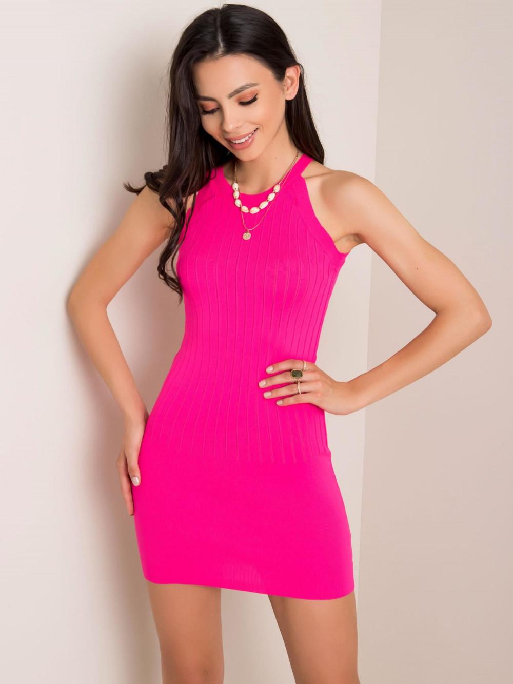 Neonowo różowa sukienka dopasowana mini Atena 1