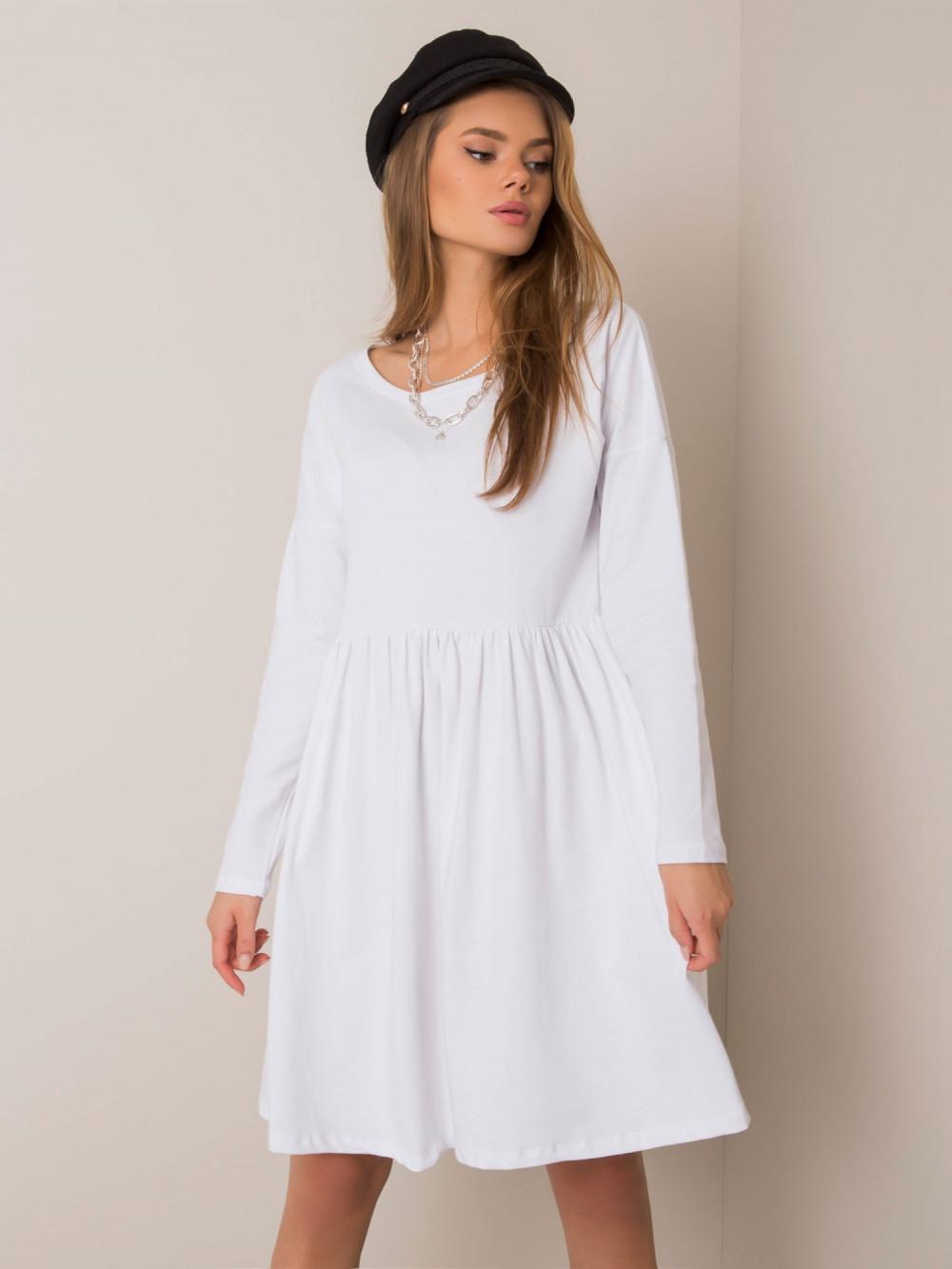 Biała klasyczna sukienka rozkloszowana Ateria 2