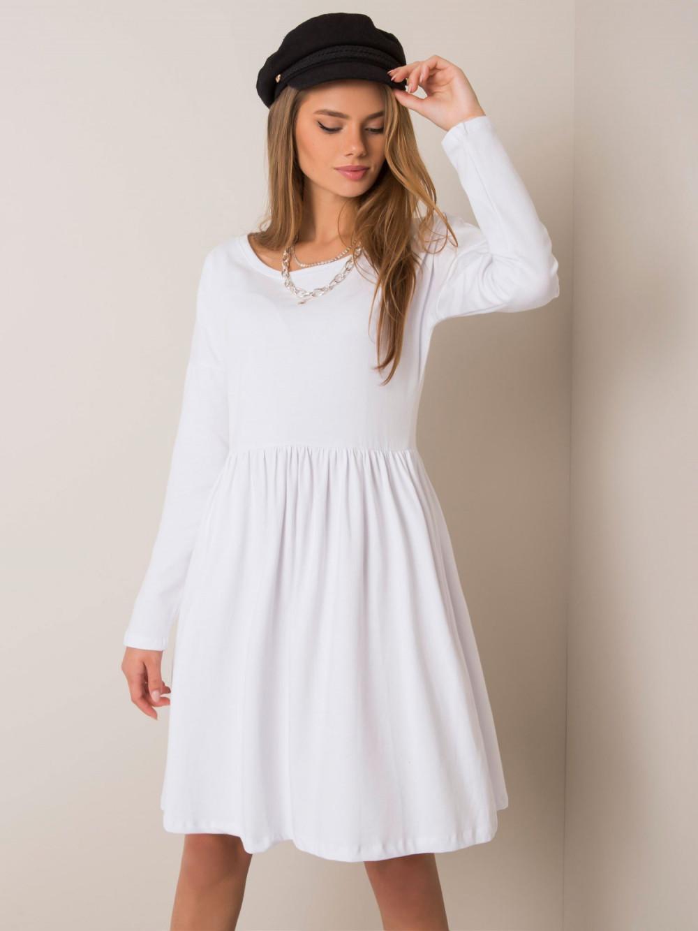 Biała klasyczna sukienka rozkloszowana Ateria 1