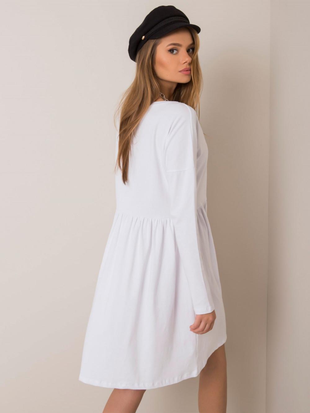 Biała klasyczna sukienka rozkloszowana Ateria 4