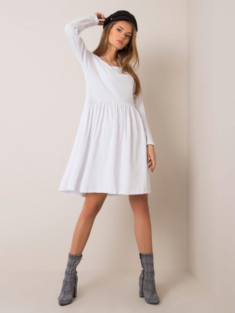 Biała klasyczna sukienka rozkloszowana Ateria 3