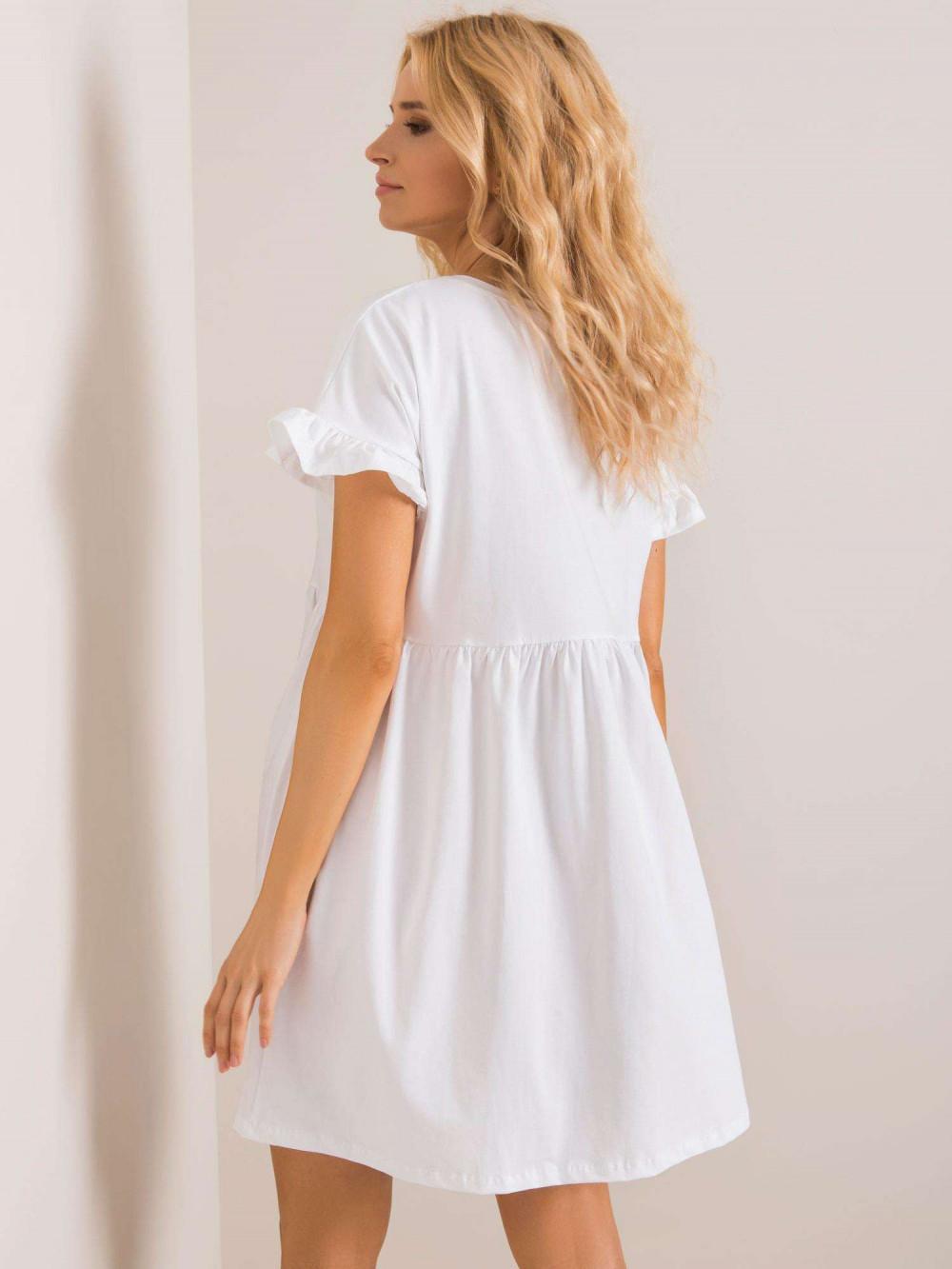Biała sukienka rozkloszowana z falbankami Fresno 3