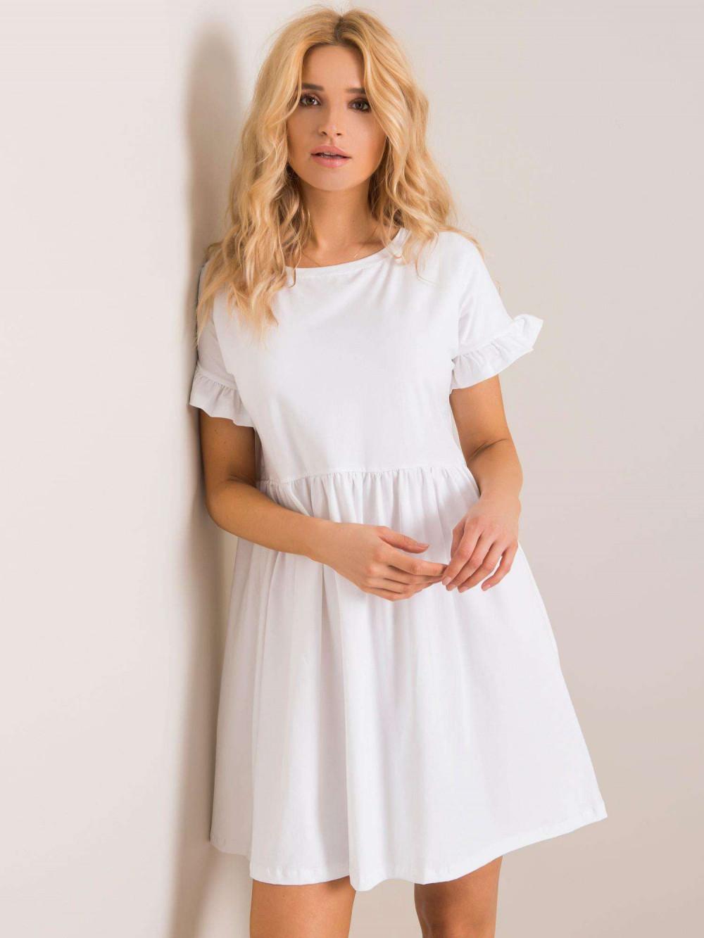 Biała sukienka rozkloszowana z falbankami Fresno 1