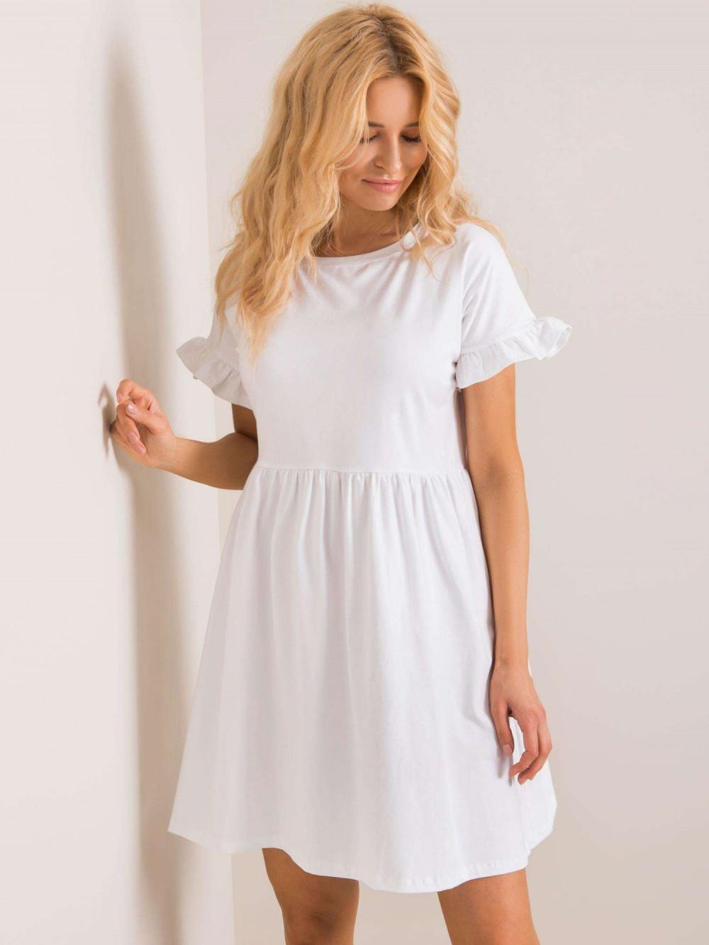 Biała sukienka rozkloszowana z falbankami Fresno 2