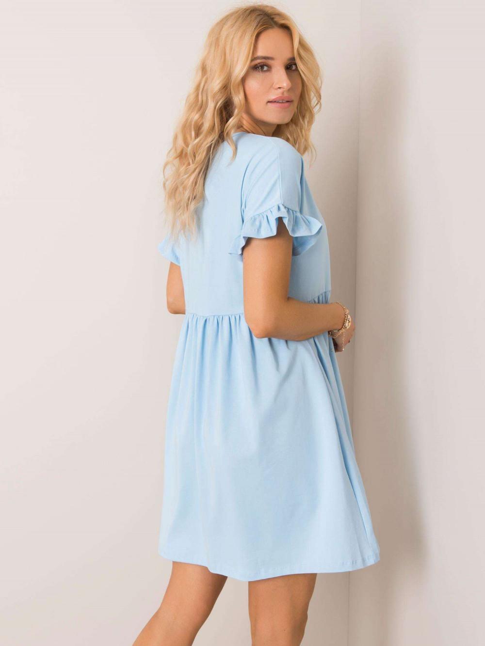 Jasnoniebieska sukienka rozkloszowana z falbankami Fresno 3