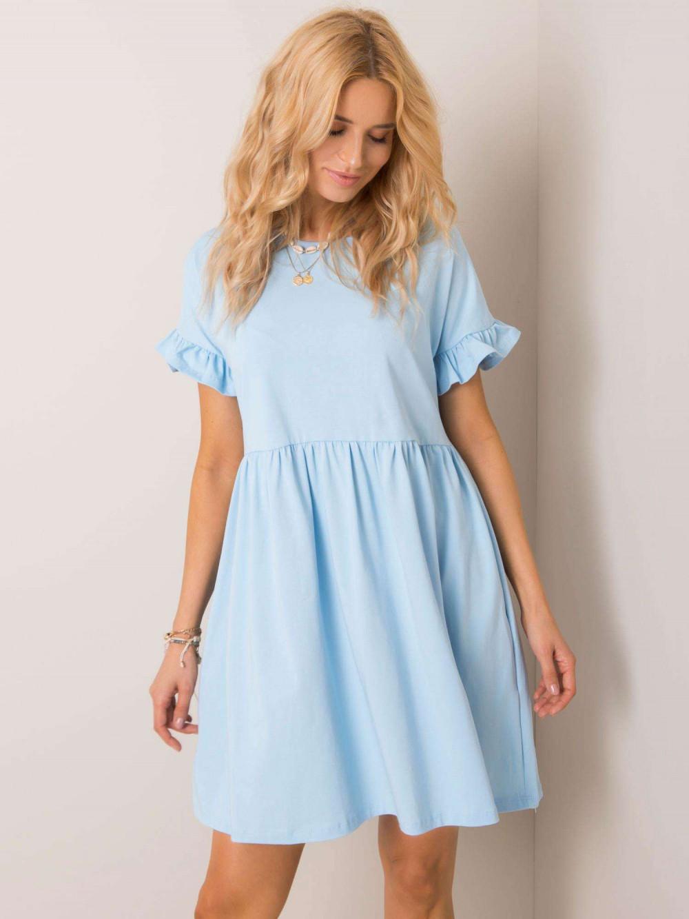 Jasnoniebieska sukienka rozkloszowana z falbankami Fresno 2