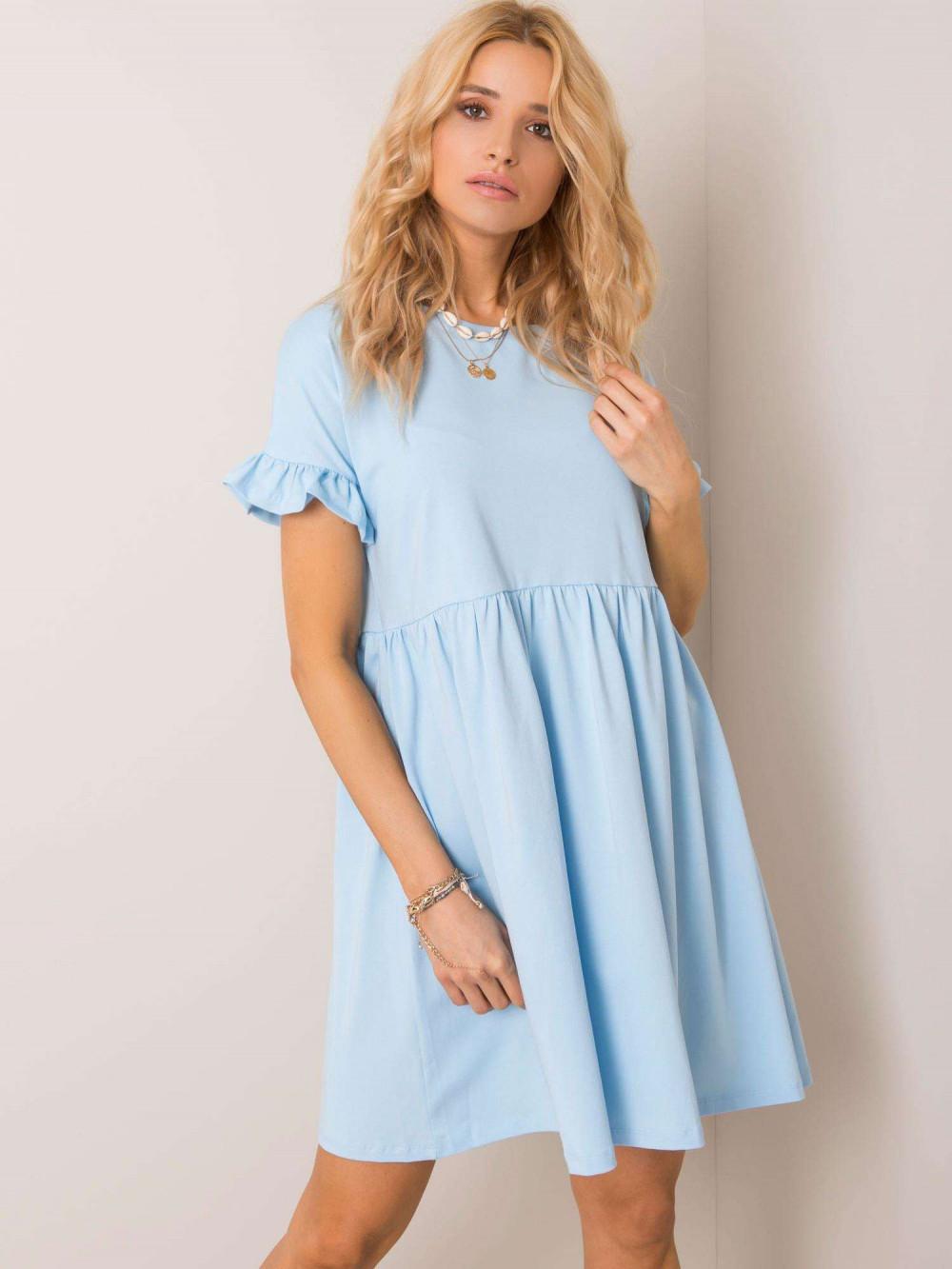 Jasnoniebieska sukienka rozkloszowana z falbankami Fresno 1