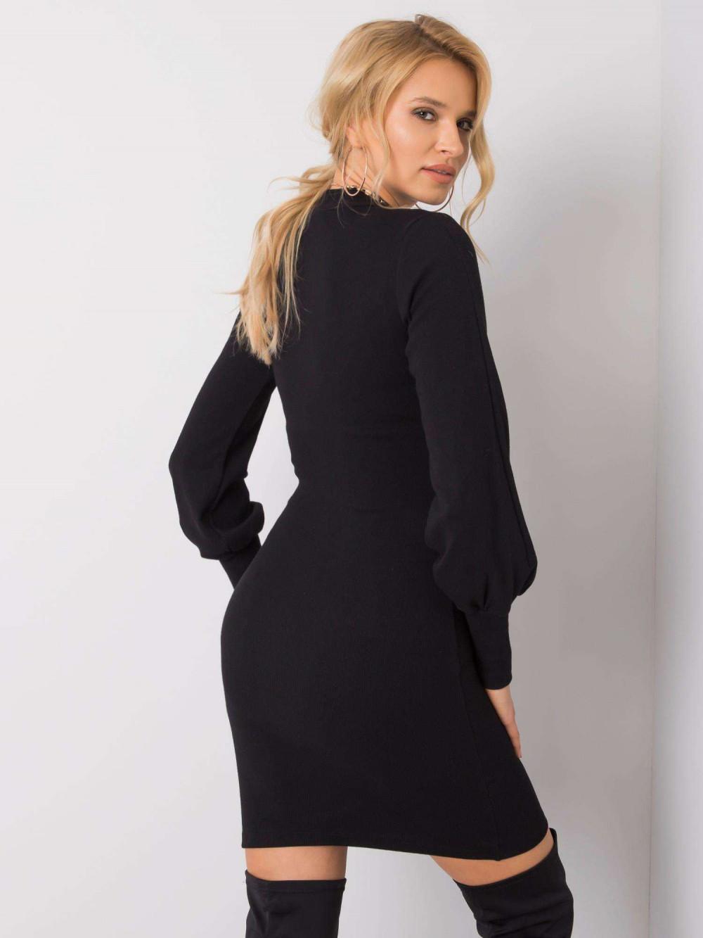 Czarna dopasowana sukienka z bufiastymi rękawami Boise 4
