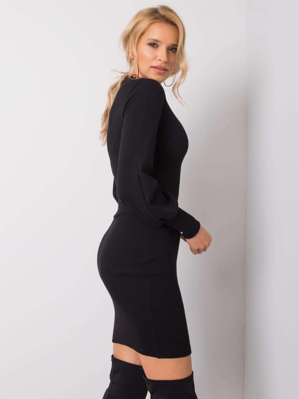 Czarna dopasowana sukienka z bufiastymi rękawami Boise 3