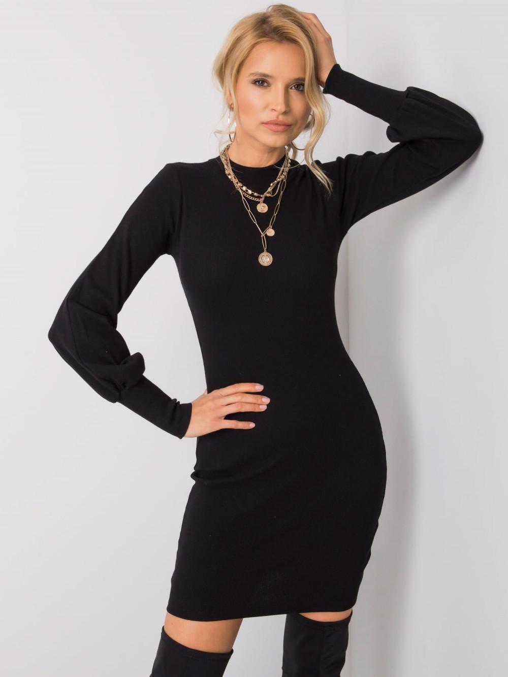 Czarna dopasowana sukienka z bufiastymi rękawami Boise 2