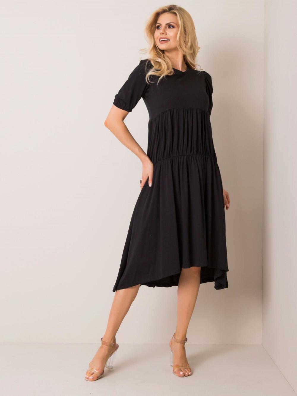 Czarna sukienka z falbankami midi Everett 1